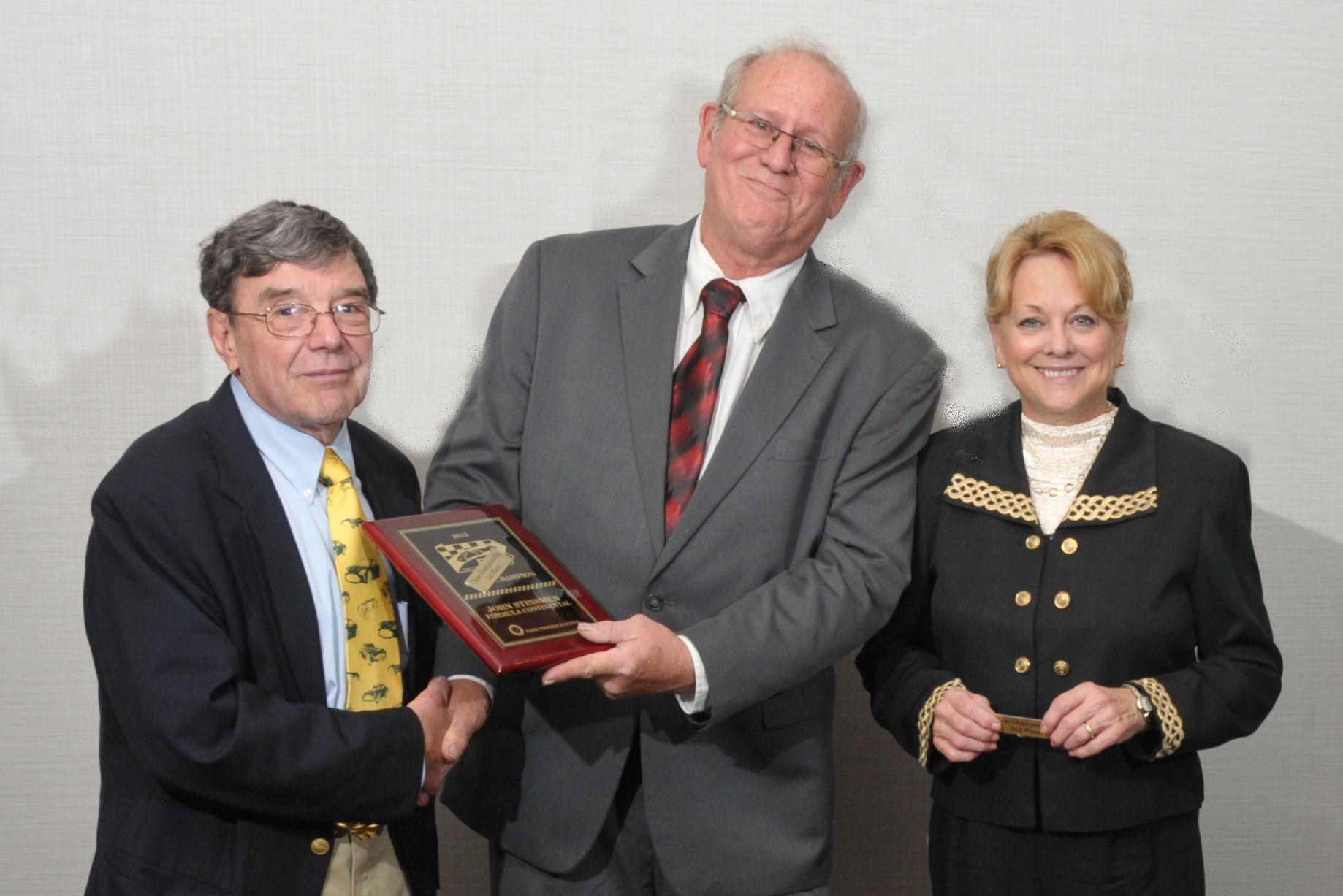 Formula Continental - John Stinsmen with PHA President Tom Knorr and Runner-up Jane Stinsmen