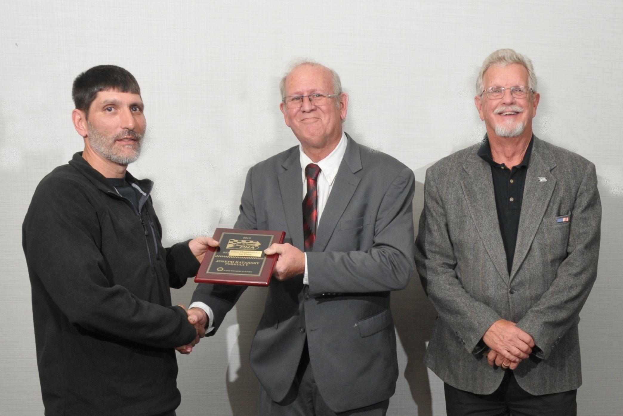 Formula V - Joseph Katarsky with PHA President Tom Knorr and Runner-up John Pitman